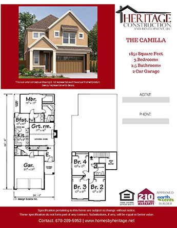 The Camilla Model Rendering and Floor Plan