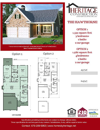 The Hawthorne Model Rendering and Floor Plan