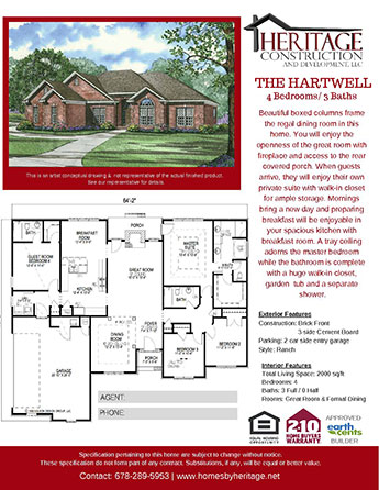 The Hartwell Model Rendering and Floor Plan